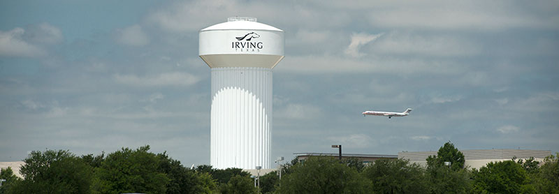 Water tank in Irving, Dallas, Texas