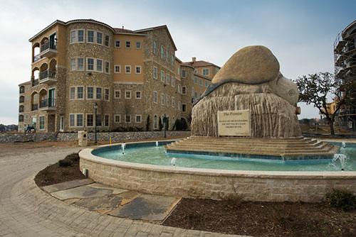 Adriatica village apartments promise fountain in McKinney, Dallas, TX