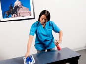 Valor Janitorial worker cleaning and dusting a table